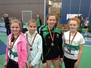 U13 Girls Team Loren Burley, Leah Kinsella, Laura Hickey and Jessica Ainison